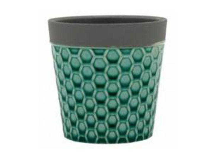 Cachepot em Cerâmica Verde Decoração Moderna Casa/Jardim 10x10cm