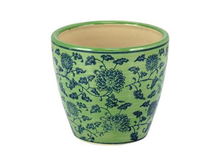 Cachepot em Cerâmica Verde e Azul