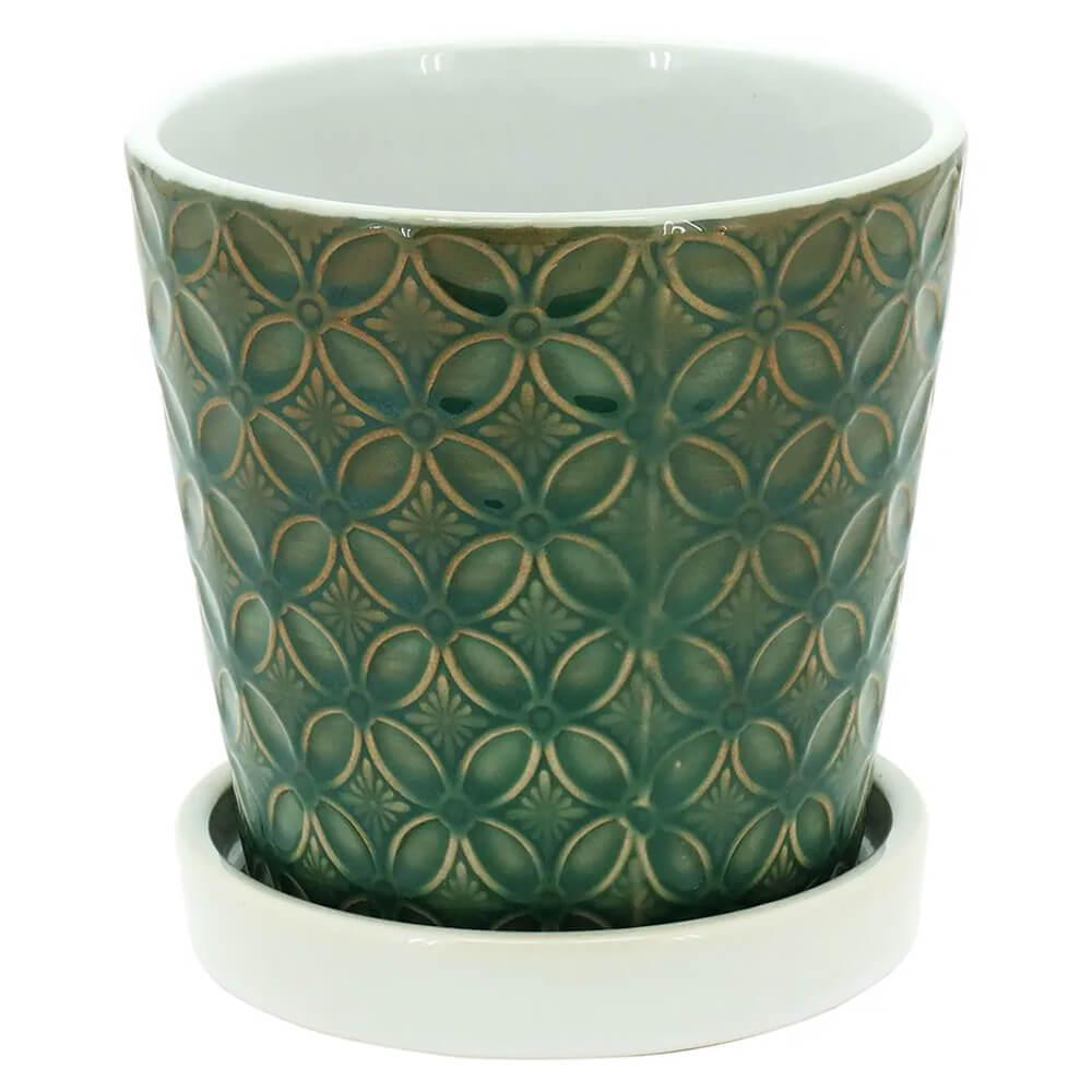 Cachepot em Cerâmica Verde e Folhas com Prato Branco Acoplado