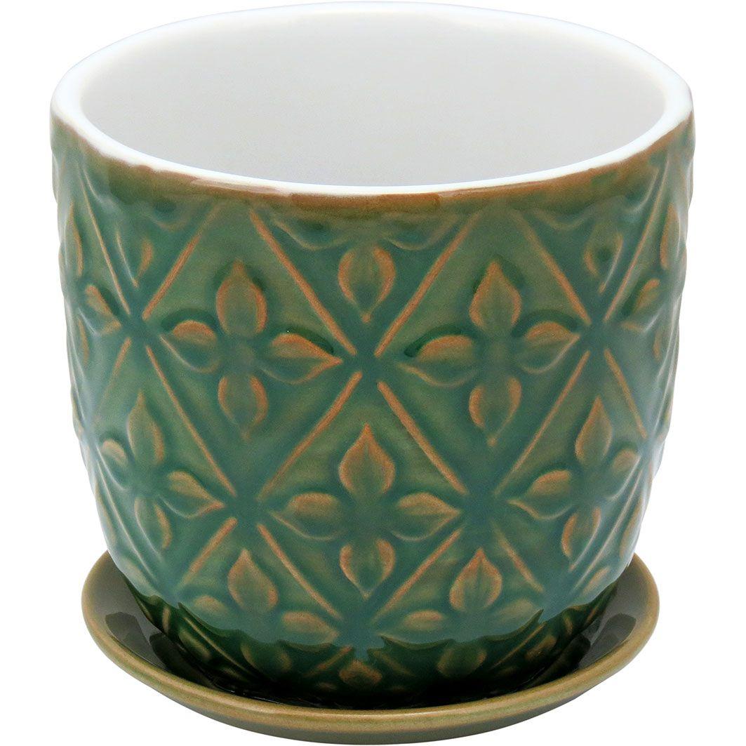 Cachepot em Cerâmica Verde e Folhas com Prato Verde Acoplado