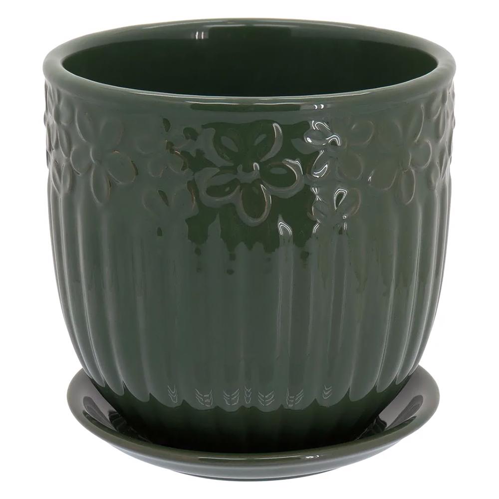 Cachepot em Cerâmica Verdel com Prato Acoplado 15x15cm