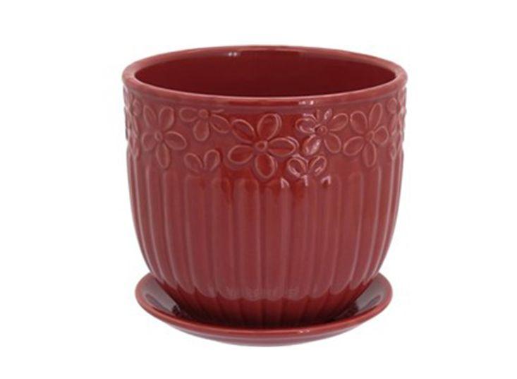 Cachepot em Cerâmica Vermelho com Prato Acoplado