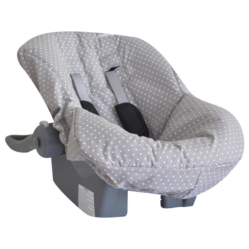 Capa de Bebê Conforto em Tecido com Estampa de Estrelinha Cinza