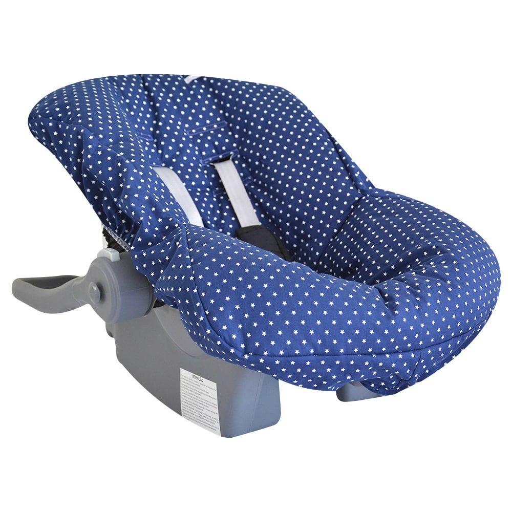 Capa de Bebê Conforto em Tecido com Estampa de Estrelinha Marinho
