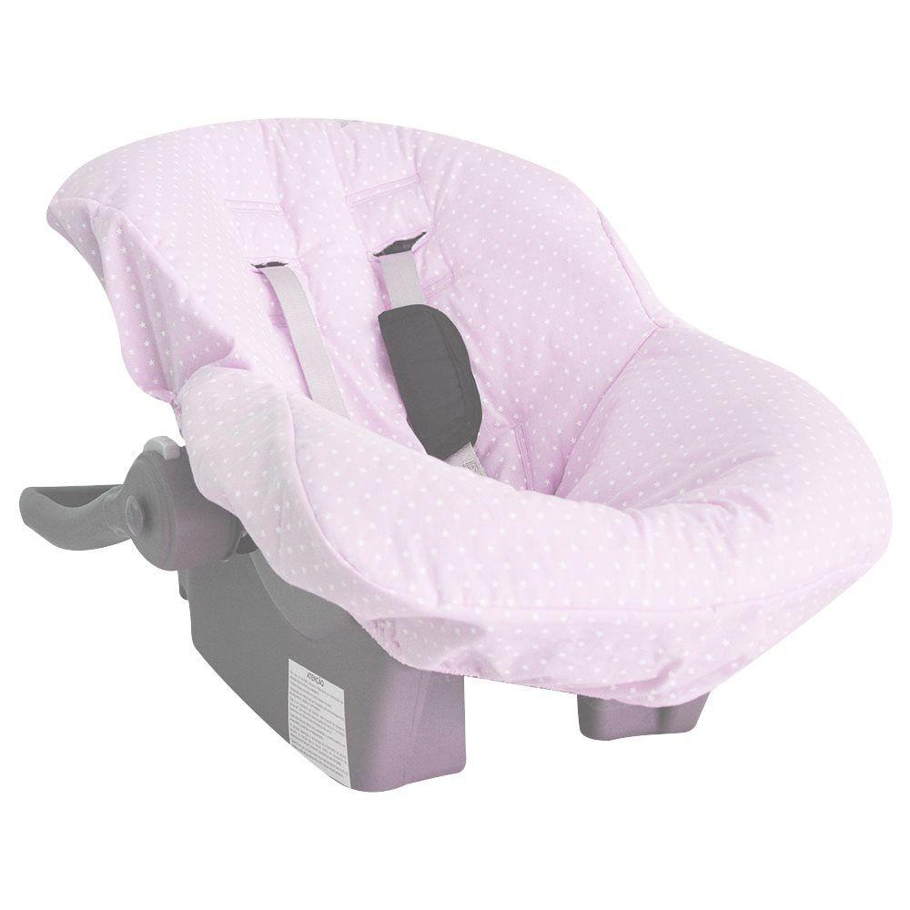 Capa de Bebê Conforto em Tecido com Estampa de Estrelinha Rosa