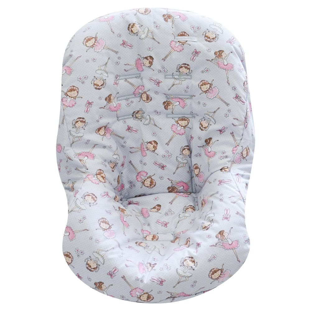 Capa de Bebê Conforto Tecido com Estampa Bailarina Cinza e Rosa