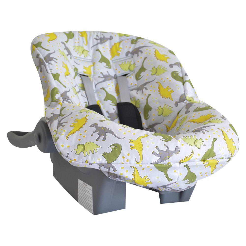 Capa de Bebê Conforto Tecido com Estampa Dinossauro Cinza