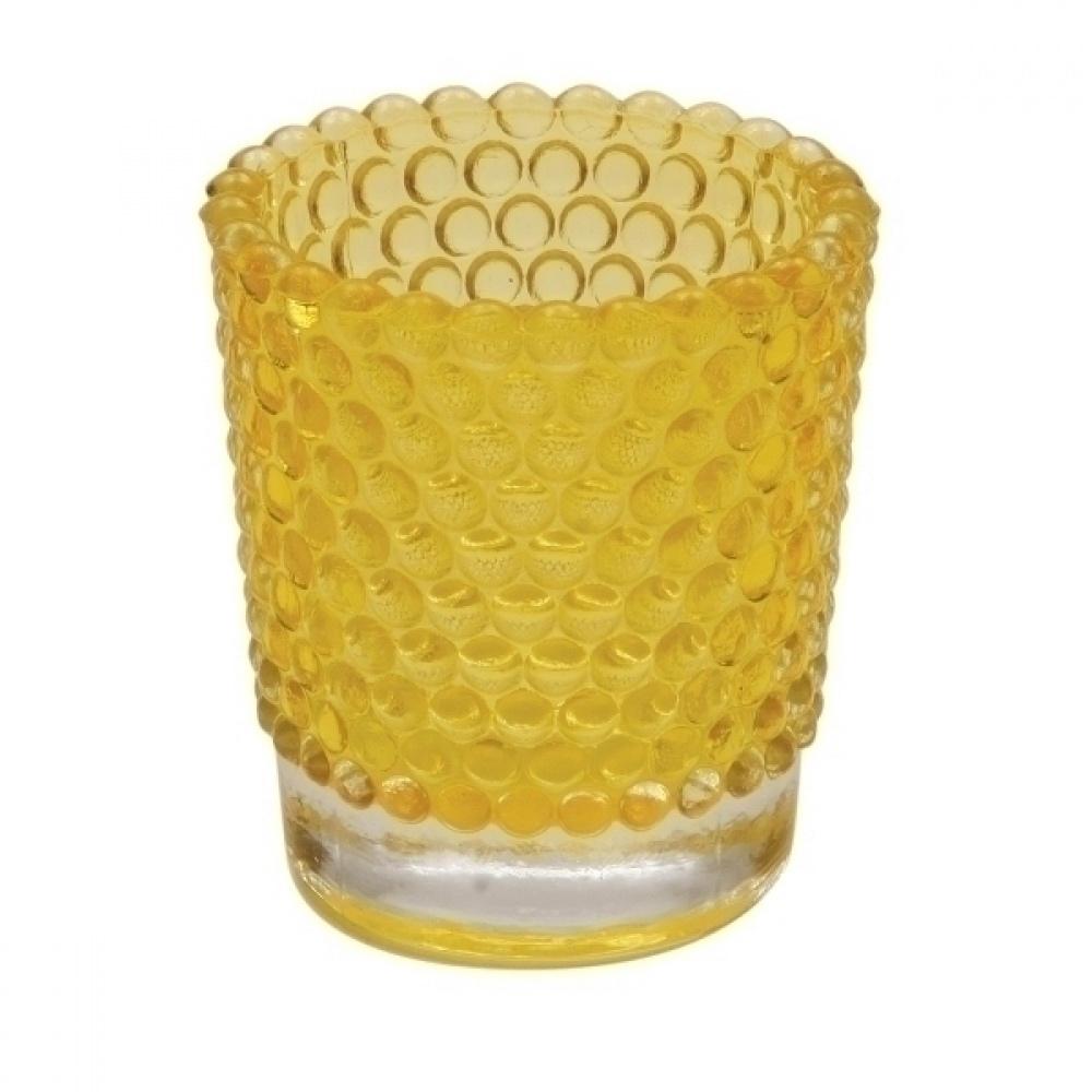 Castiçal de Vidro Amarelo  5,8 x 6,4 cm