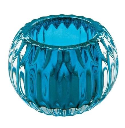 Castiçal de Vidro Azul -  9 x 9 x 7cm