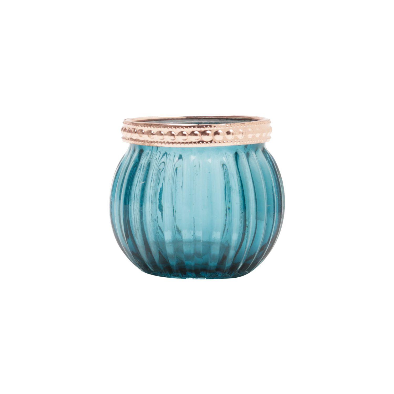 Castiçal De Vidro Azul com Detalhe Rosé (1 unidade)