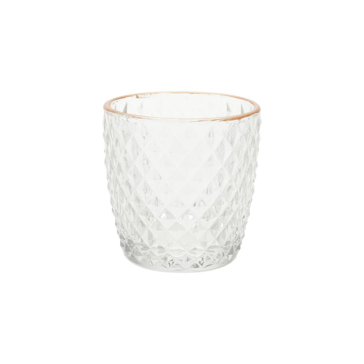 Castiçal de Vidro Colar Diamonds  7,2 cm x 7,2 cm x 7,5 cm