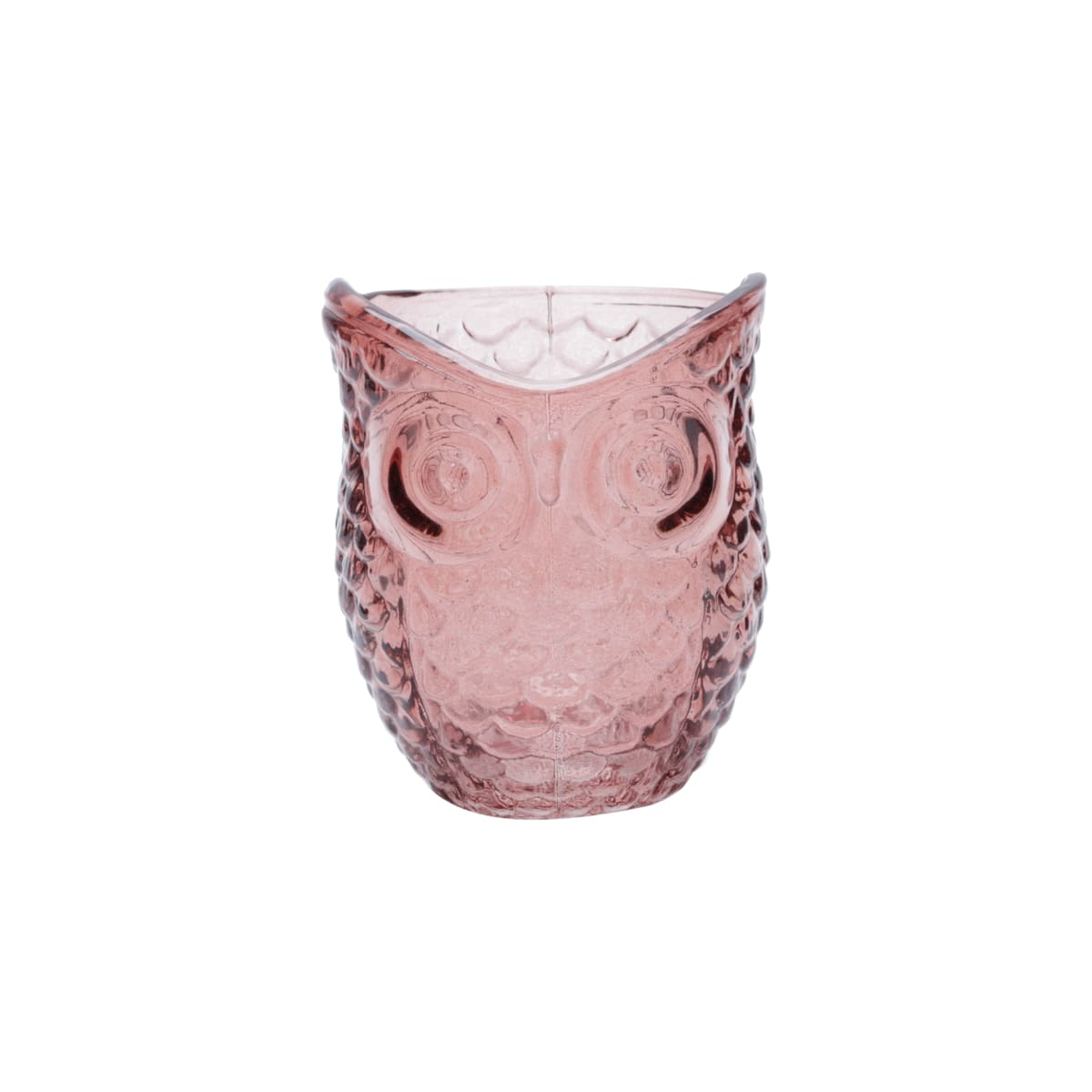 Castiçal de Vidro - Coruja Rosa