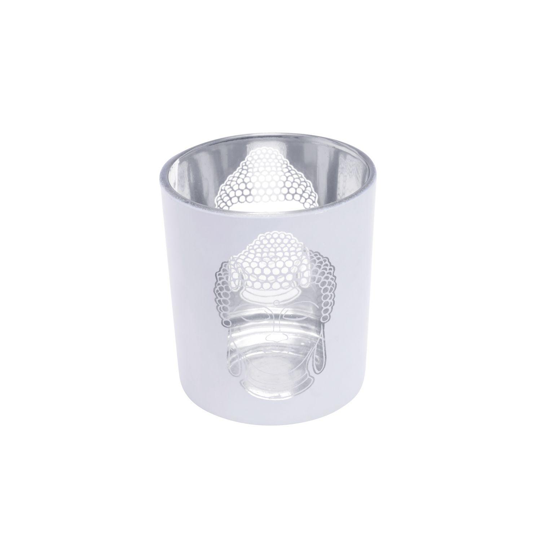 Castiçal de Vidro Metalic Buddah Prata e Branco 7x7x8cm