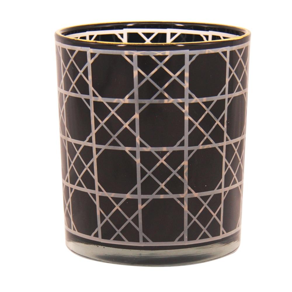 Castiçal de Vidro Preto - 8,8 x 10 cm
