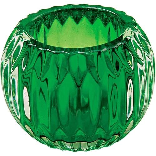 Castiçal de Vidro Verde -  9 x 9 x 7cm