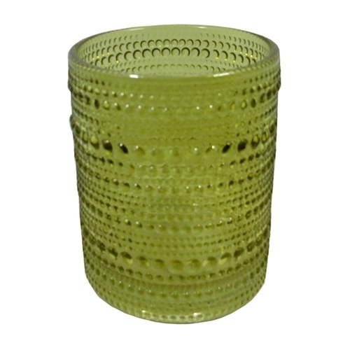 Castiçal de Vidro Verde Oliva Alto -  8,5 x 10,50 cm