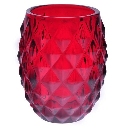 Castiçal de Vidro Vermelho 10cm