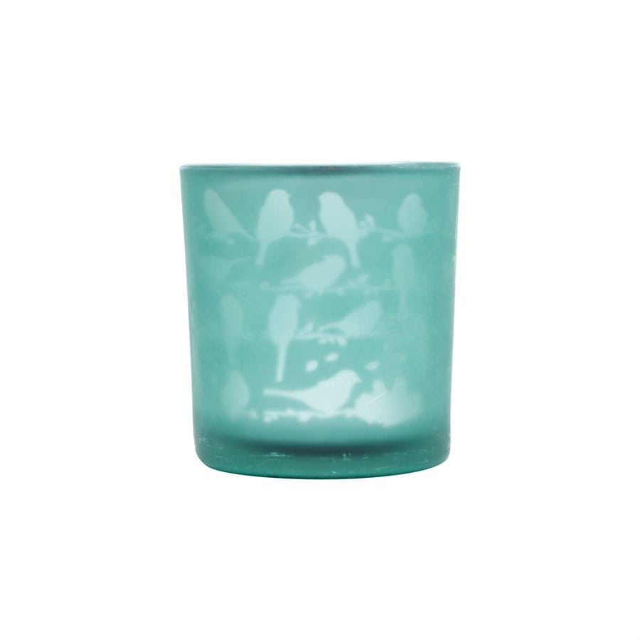 Castiçal Vidro Little Birds Verde 7x7x8 Cm Urban