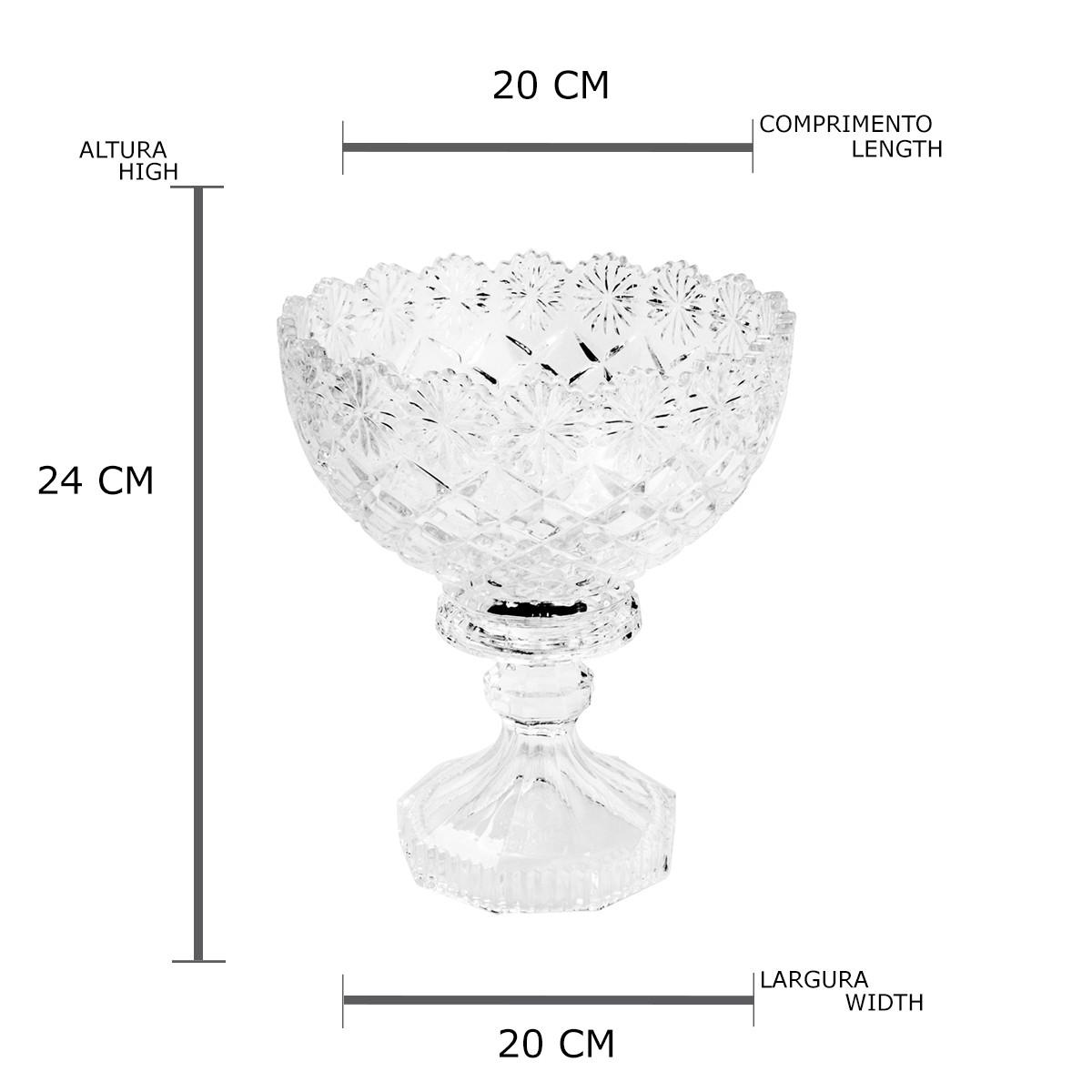 Centro de Mesa Com Pé de Cristal de Chumbo Diamond Star 20 x 24 cm