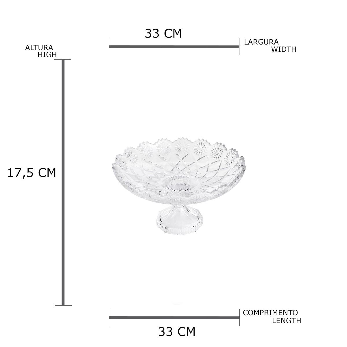 Centro de Mesa Decorativo com Pé de Cristal de Chumbo Diamond Star 33 x 17,5 cm