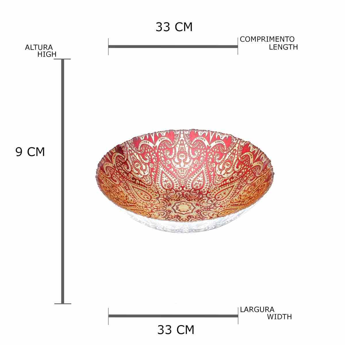 Centro de Mesa Decorativo de Vidro Istambul Vermelho 33 x 9 cm