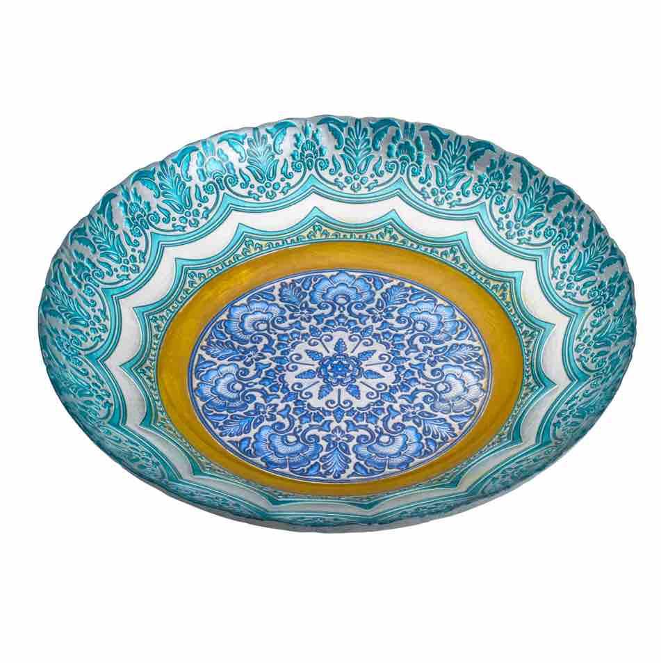 Centro de Mesa Decorativo de Vidro Rococo Azul 40 x 8 cm