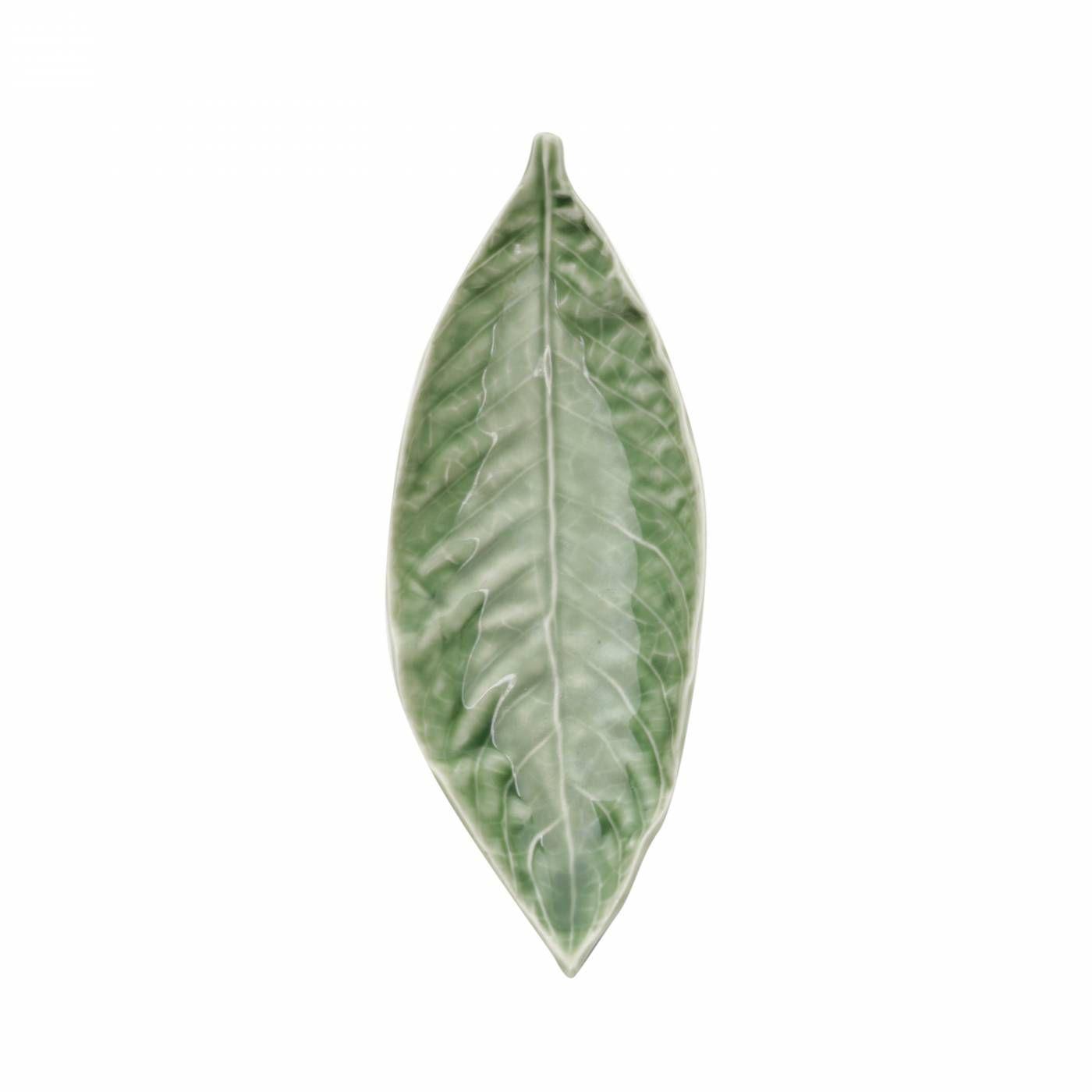 Centro De Mesa Em Cerâmica Verde Willow Leaf Urban 21x7,7x3cm