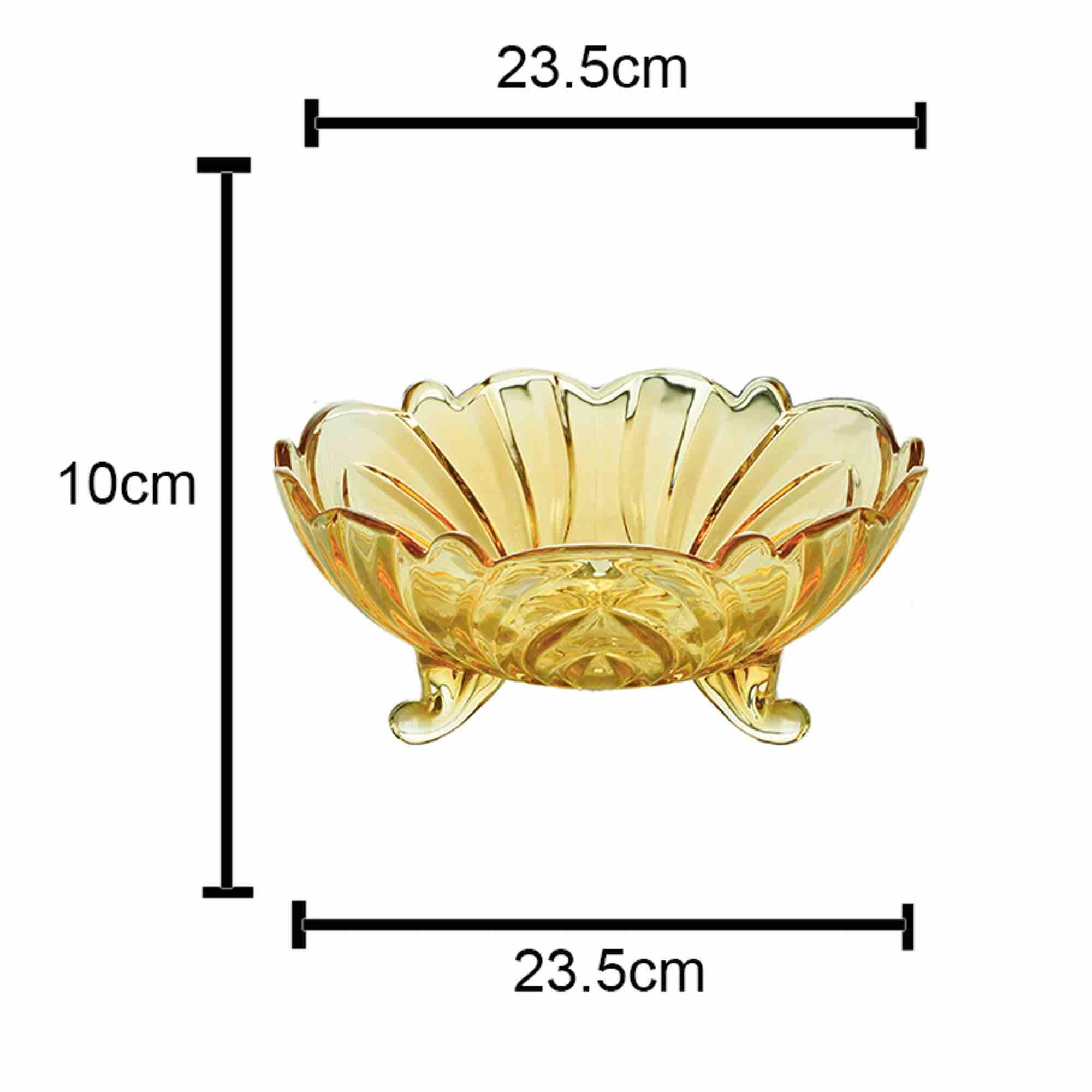Centro de Mesa / Fruteira De Cristal de Chumbo Fruit Ambar 23 x 10 cm