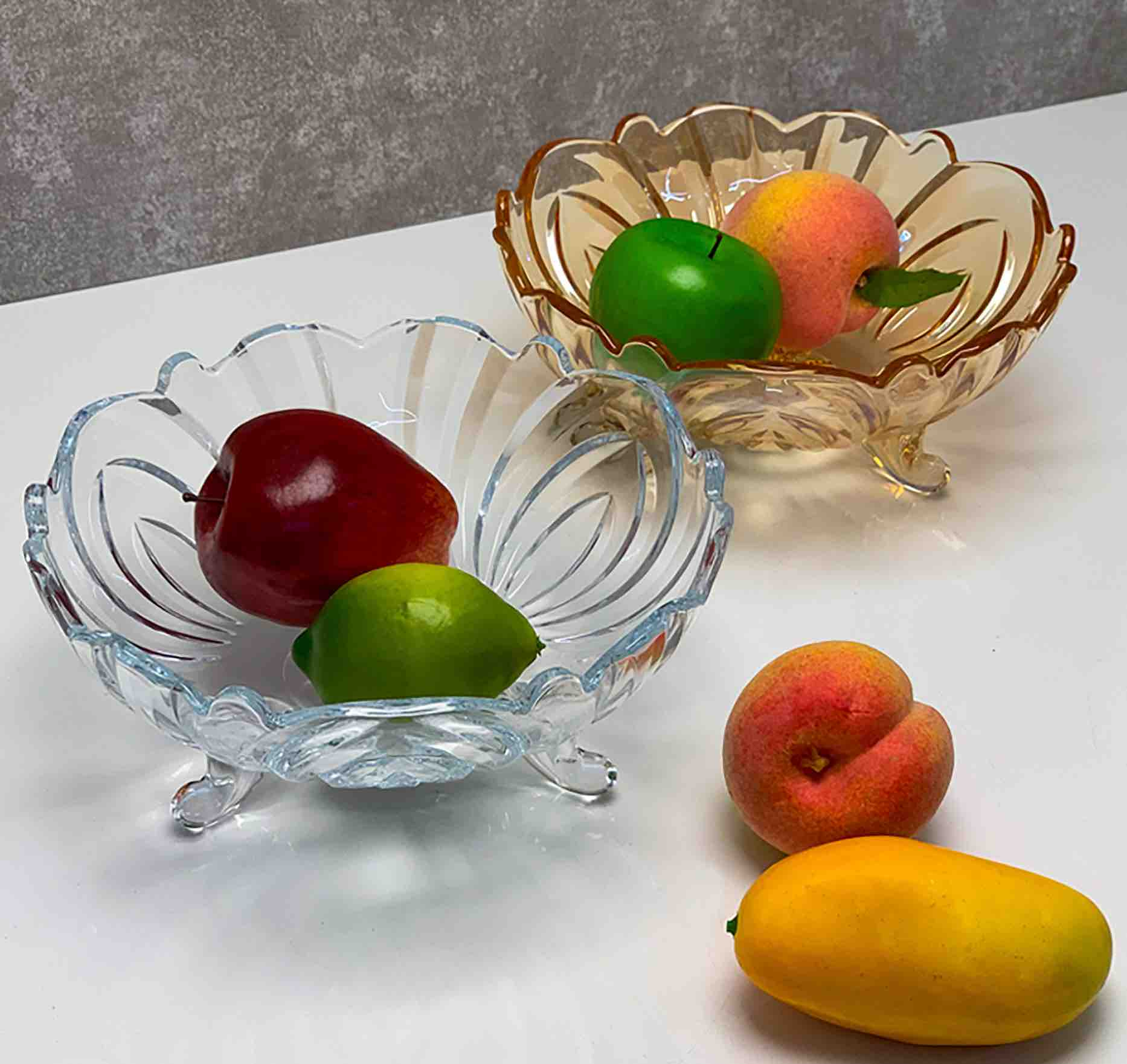 Centro de Mesa / Fruteira De Cristal de Chumbo Transparente  Fruit  23 x 9,5 cm