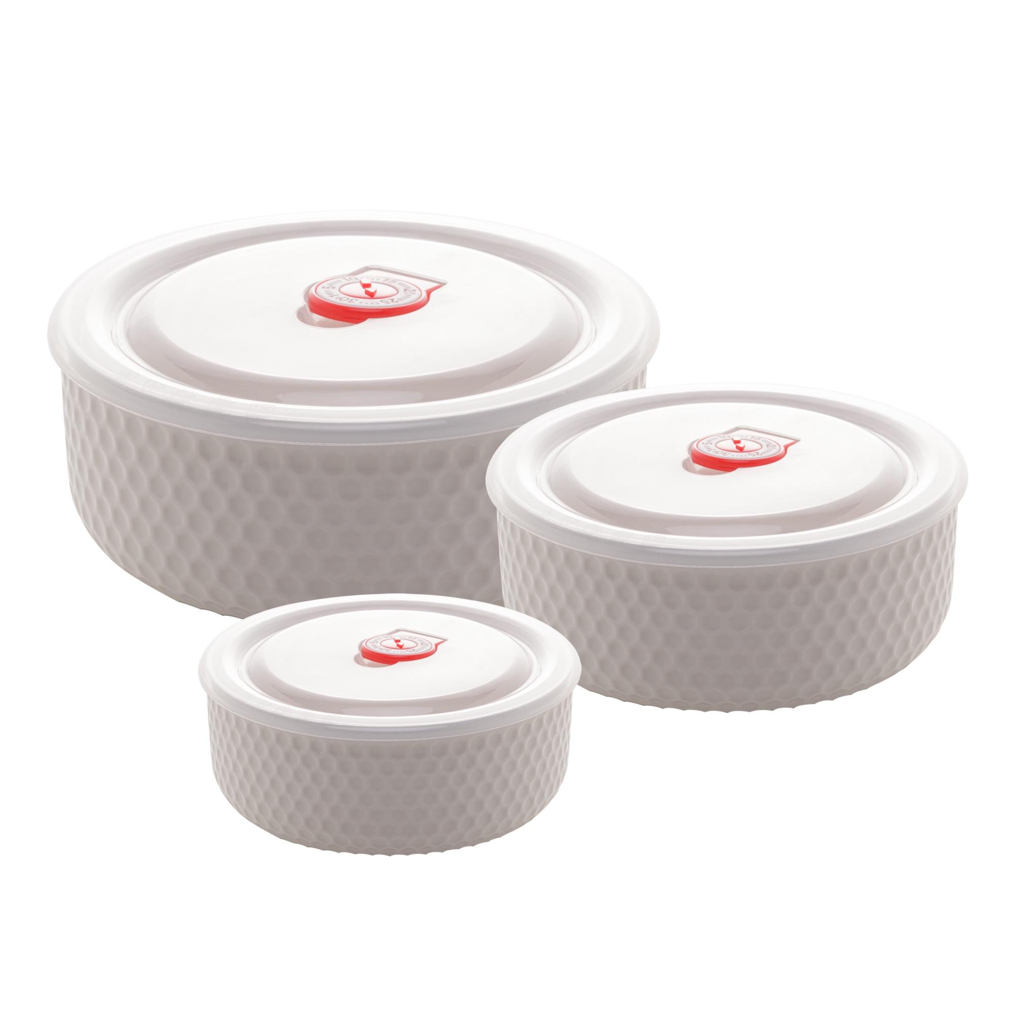 Cj 3 Refratários Bowls de Porcelana New Bone com Tampa de plástico Siena Branco - 900ml / 600ml / 300ml