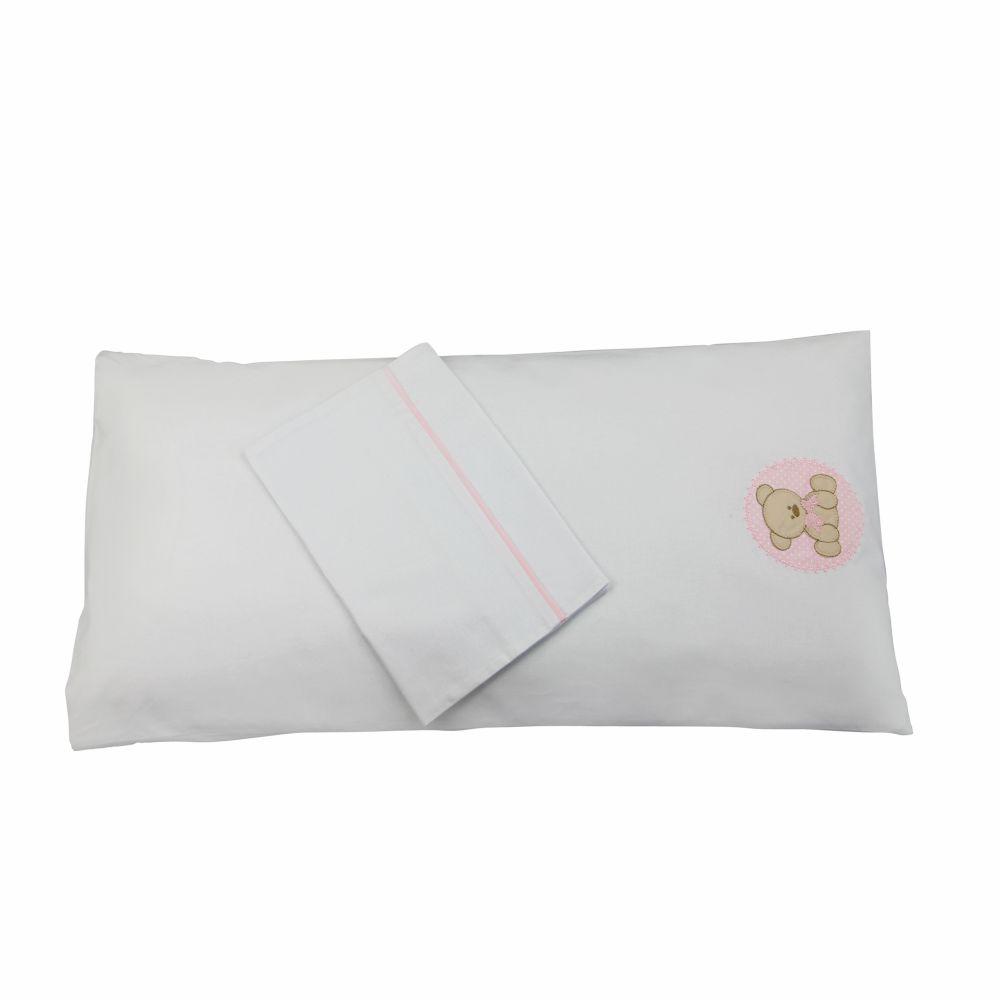 Colchonete de Carrinho Enxoval Menina 3 Peças 100% algodão - Urso Rosa