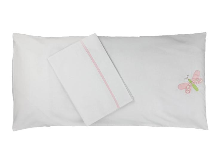 Colchonete de Carrinho Enxoval Menina 3 Peças 100% algodão Libélula Rosa