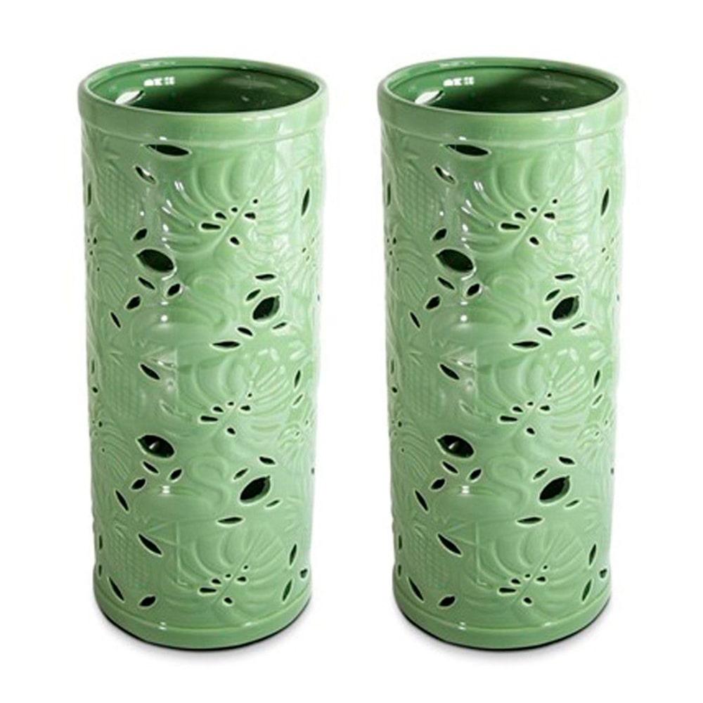 Conjunto 02 Vasos em Cerâmica Folhas Verdes Decoração de Ambiente