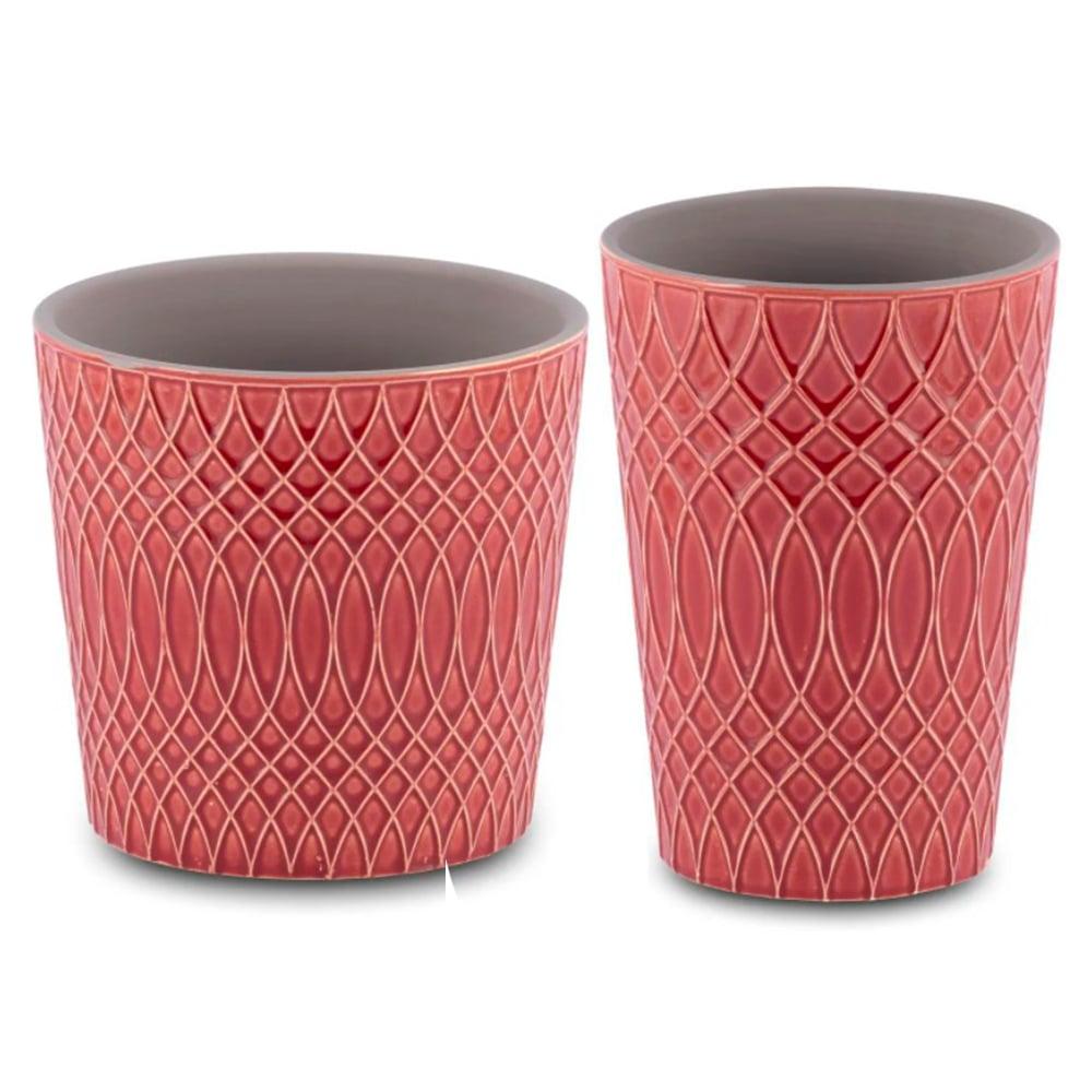 Conjunto 02  Vasos para Flores Suculentas e Plantas Cerâmica Vermelho Decoração