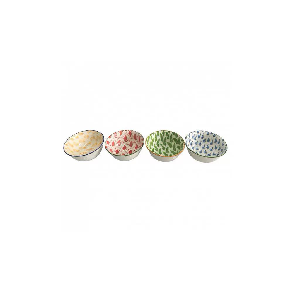 Conjunto 4 Bowl Tigela Cumbuca Cereais Molhos Abacaxi, Flamingo, Palmeira e Folhas
