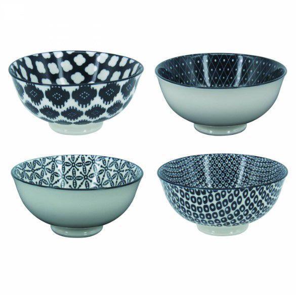 Conjunto 4 Bowl Tigela Cumbuca Cereais Molhos Brancos e Pretos