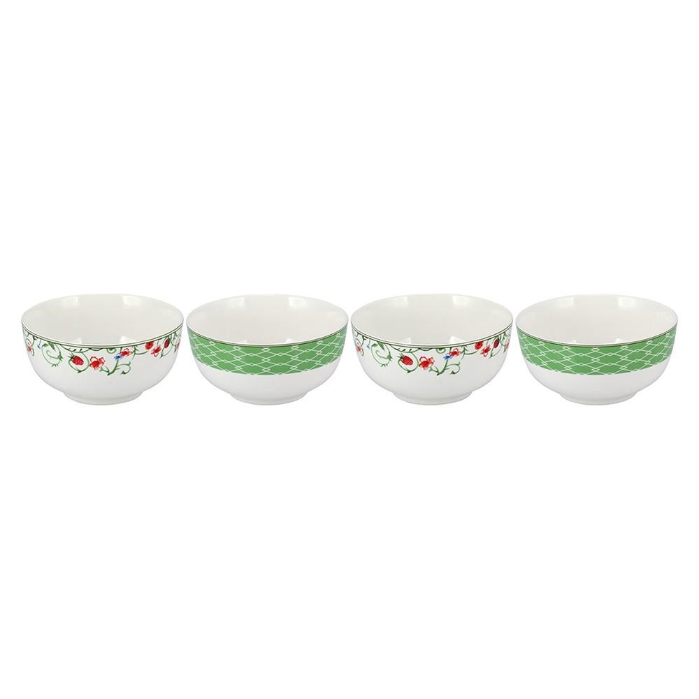 Conjunto 4 Bowl Tigela Cumbuca Cereais Molhos Verde e Branco