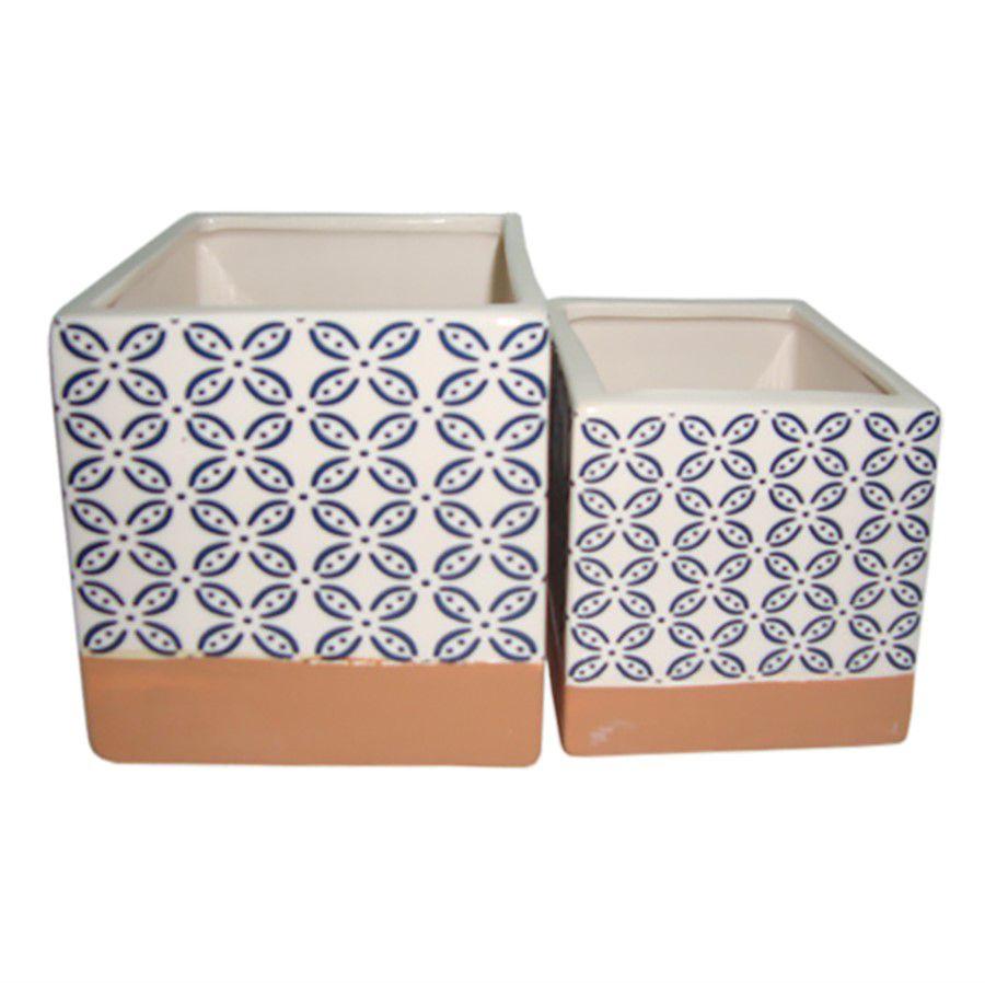 Conjunto Cachepot de Ceramica Terra Cota e Azul - 2 Pcs