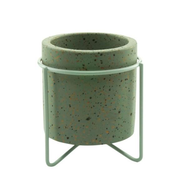 Conjunto com 3 Mini Cachepots em Croncreto Granilite 8 x 8 x 9 cm