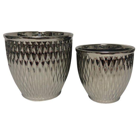 Conjunto de 2 Cachepots Vasos em Cerâmica Prateado Decoração Moderna Casa/Jardim
