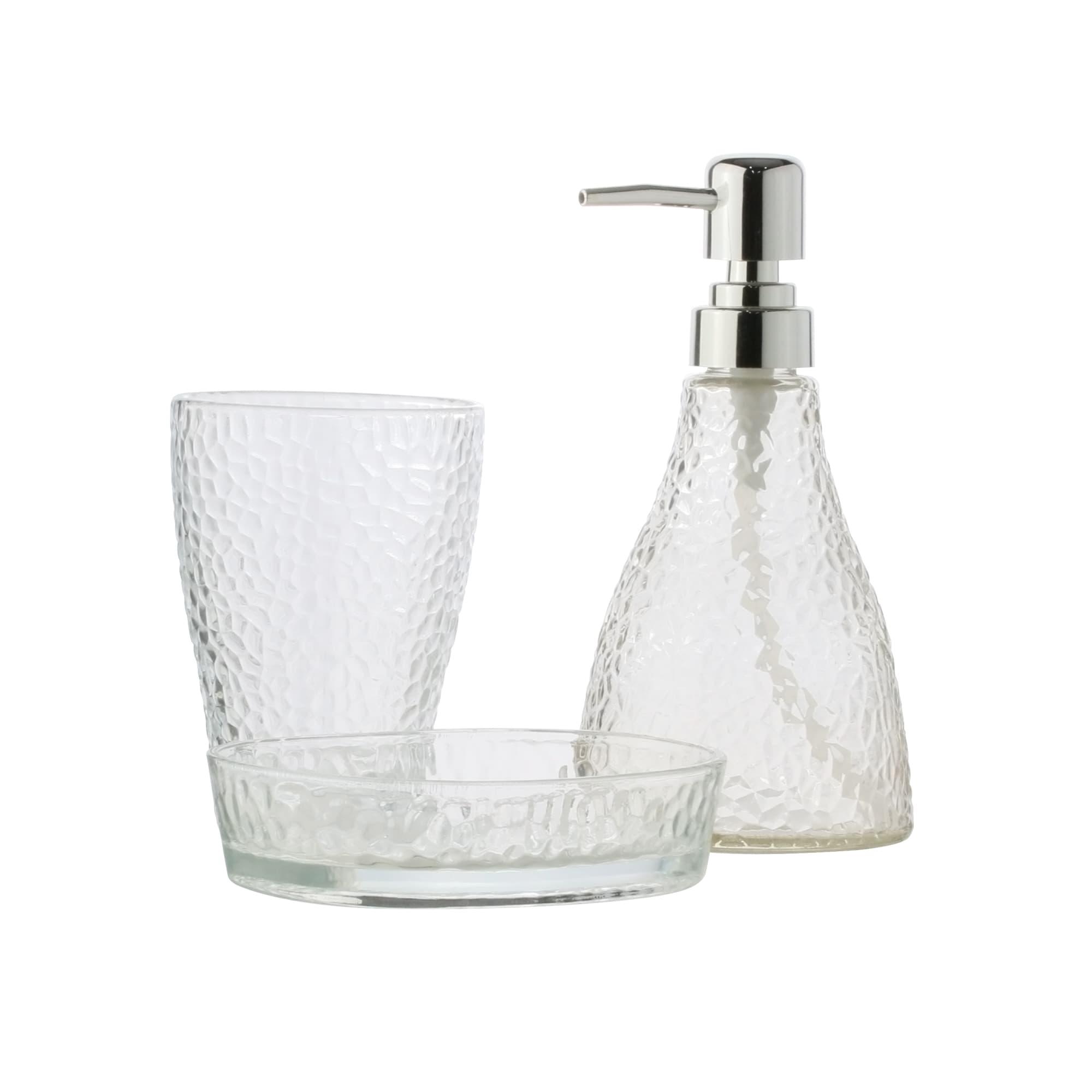 Conjunto de 3 peças para banheiro de Vidro Elegant Prateado