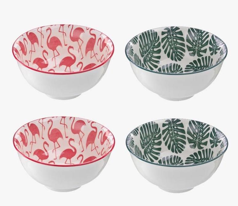 Conjunto de 4 Bowls De Cerâmica Flamingo e Costela de Adão 11,5cm X 5,5cm 200ml
