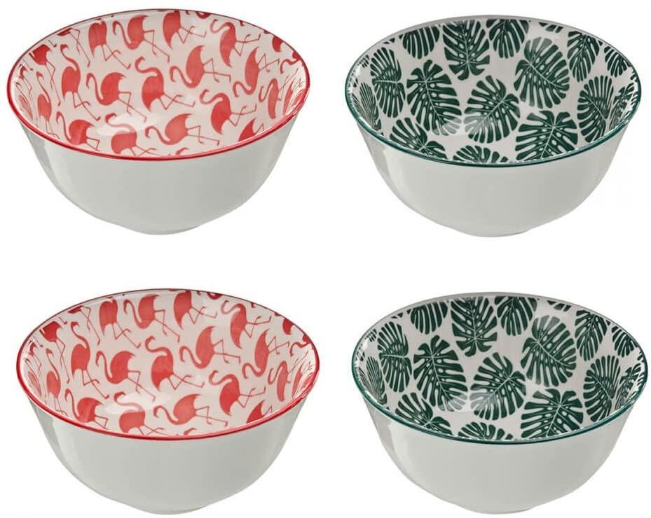 Conjunto de 4 Bowls De Cerâmica Flamingo e Costela de Adão 14,5cm X 7cm 450ml
