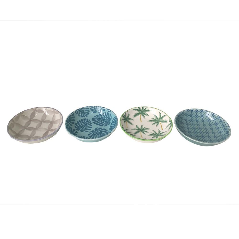 Conjunto de 4 mini Bowls Em Ceramica Estampado 9,4 x 9,4 x 2,3 cm