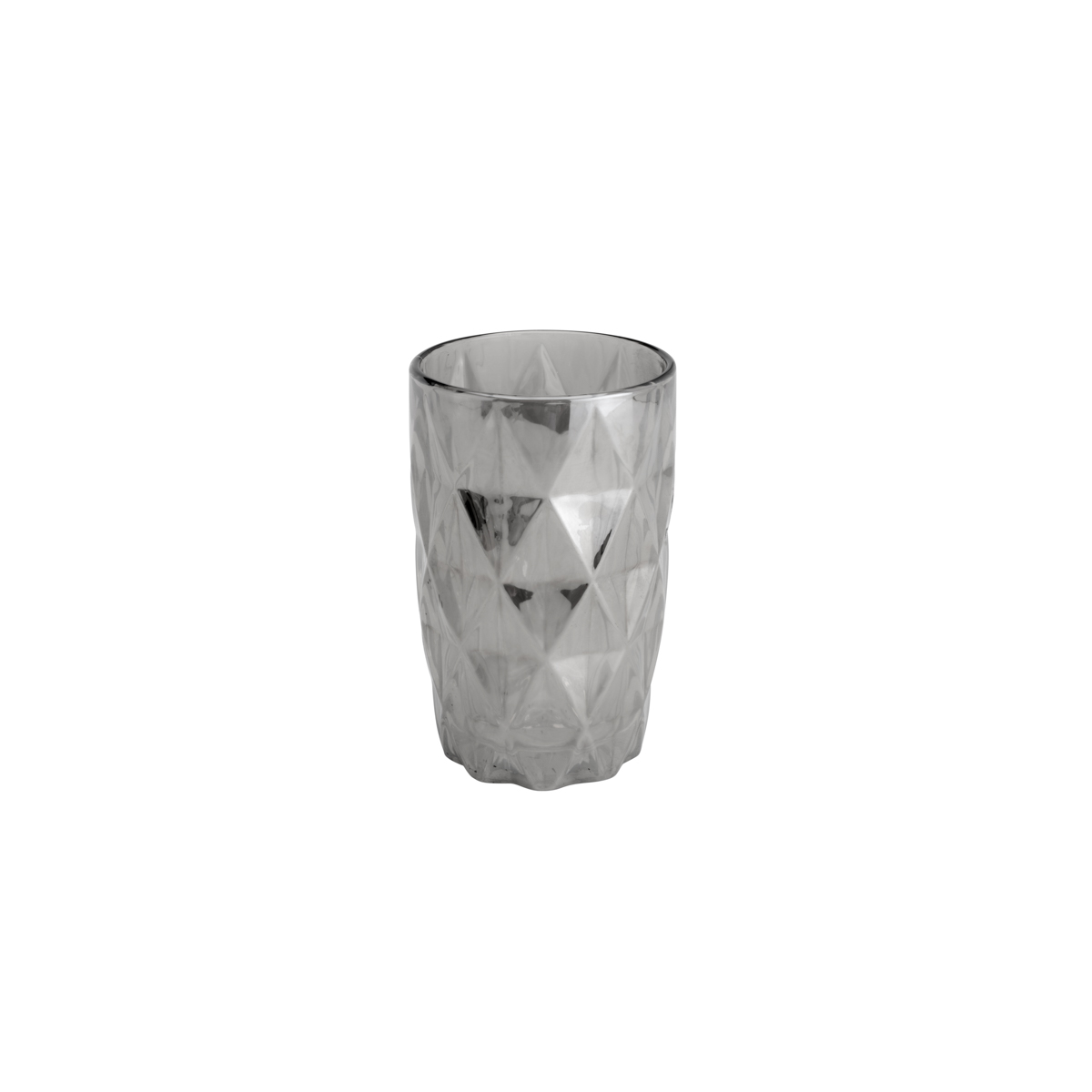 Conjunto de 6 copos Altos de Vidro Diamond Cinza Metalizado - 350 ml