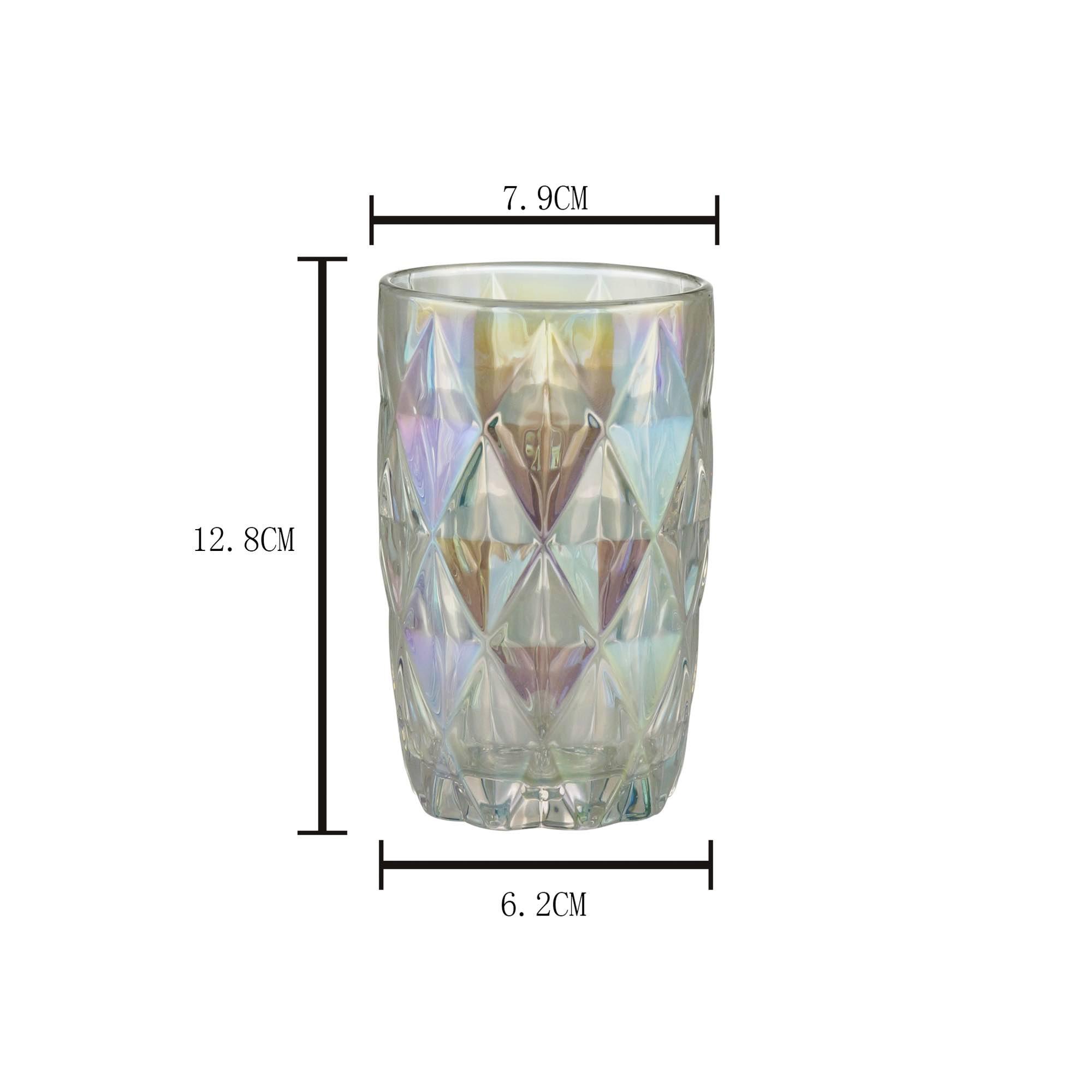 Conjunto de 6 copos Altos de Vidro Diamond Rainbow - 350 ml