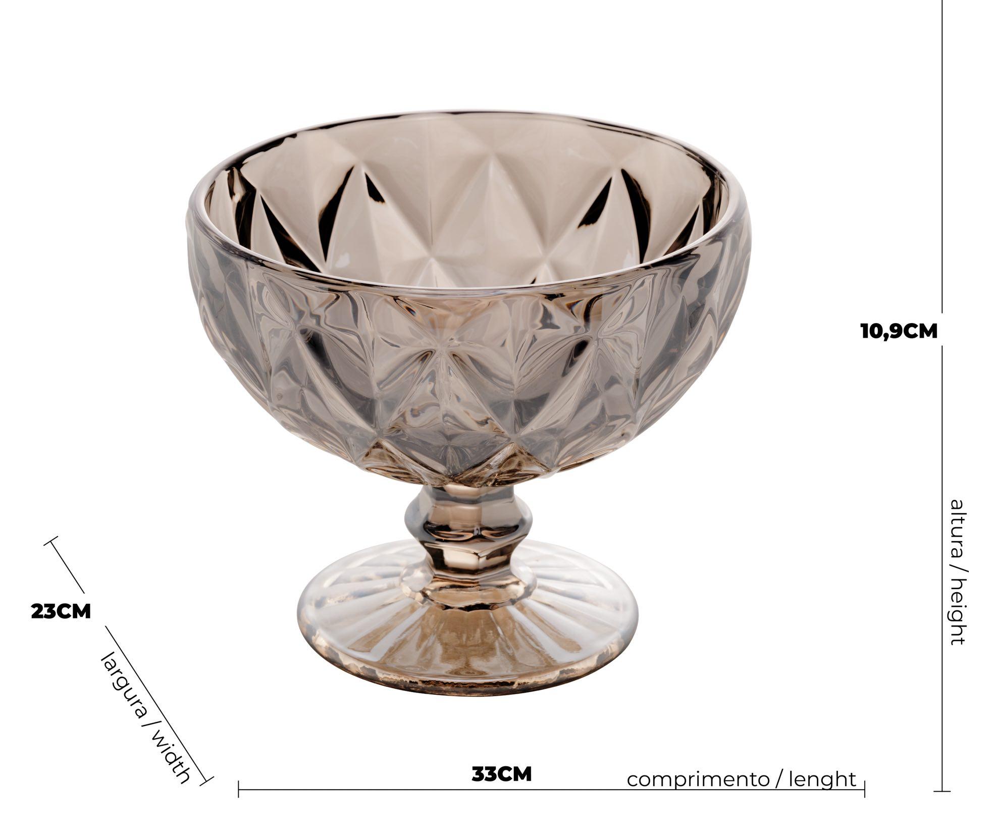 Conjunto de 6 taças de Vidro Diamond Cinza Metalizado 310ml