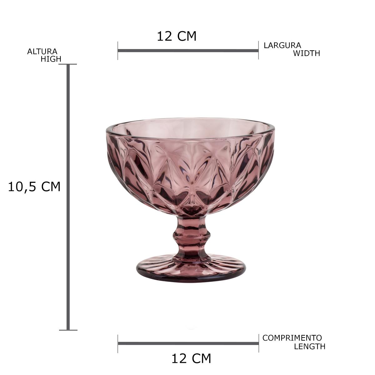 Conjunto de 6 taças de Vidro Diamond Lilás 310ml