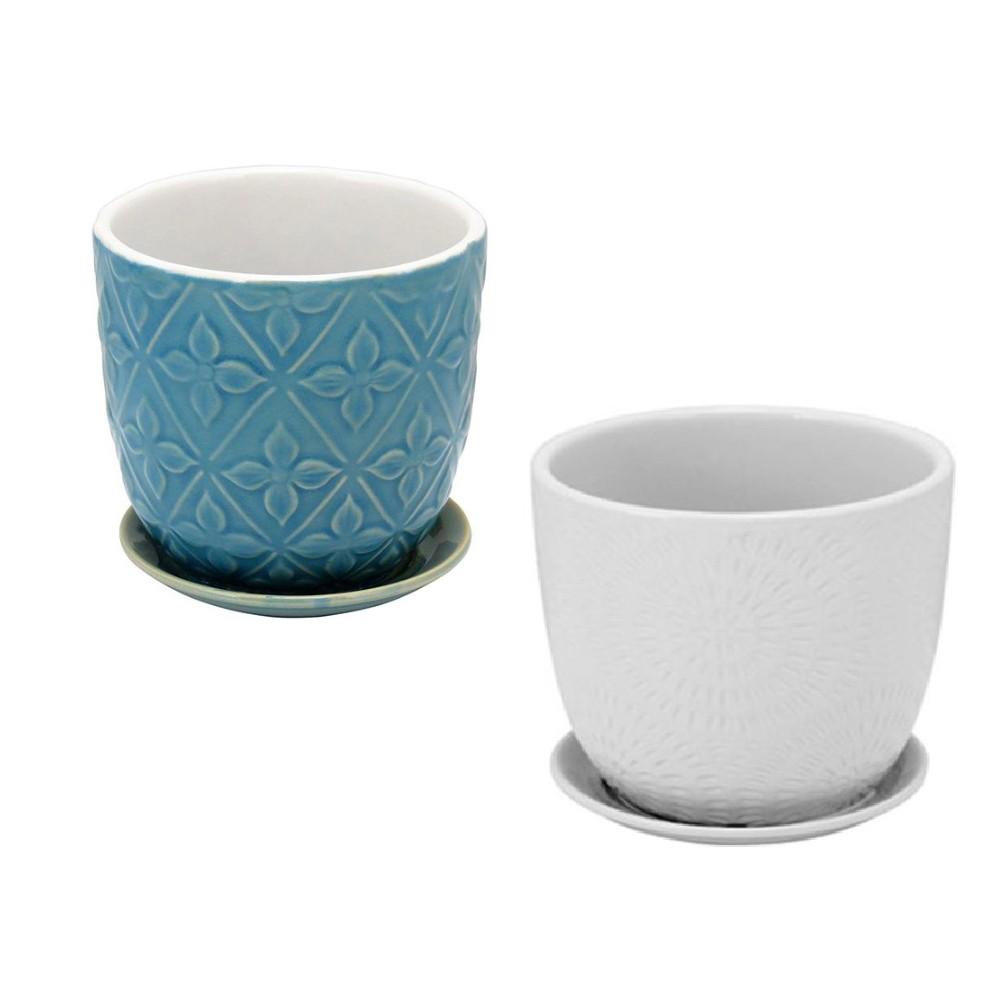 Conjunto de 2 Cachepots Decorativo em Cerâmica com Prato Acoplado (Azul e Branco)