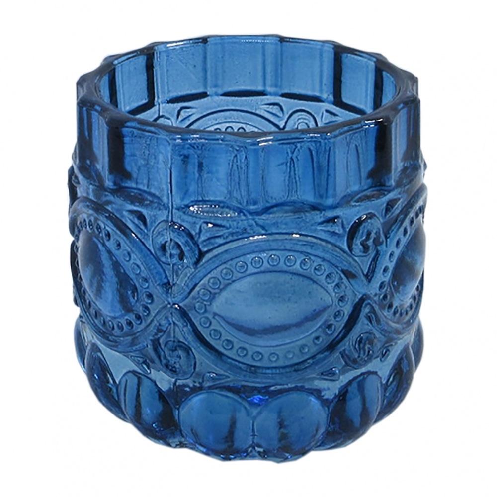Conjunto de Castiçais De Vidro Azul 4pcs 6,7cm X 7cm
